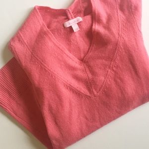 Lilly Pulitzer Coral Cashmere V Neck Sweater Small